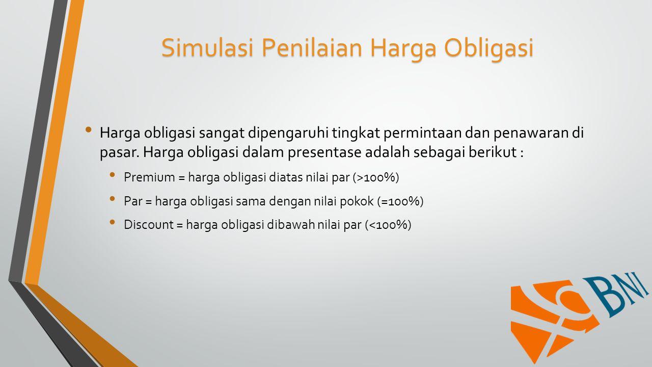 Simulasi Penilaian Harga Obligasi Harga obligasi sangat dipengaruhi tingkat permintaan dan penawaran di pasar. Harga obligasi dalam presentase adalah