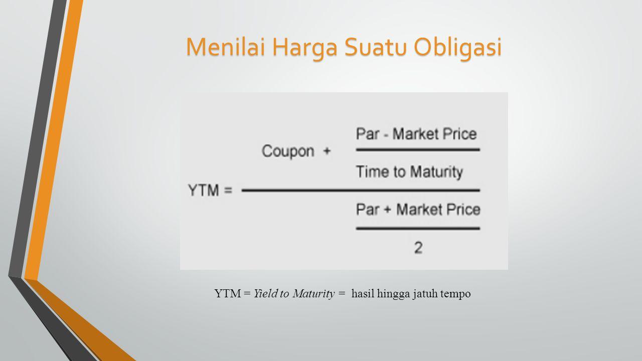 Menilai Harga Suatu Obligasi YTM = Yield to Maturity = hasil hingga jatuh tempo