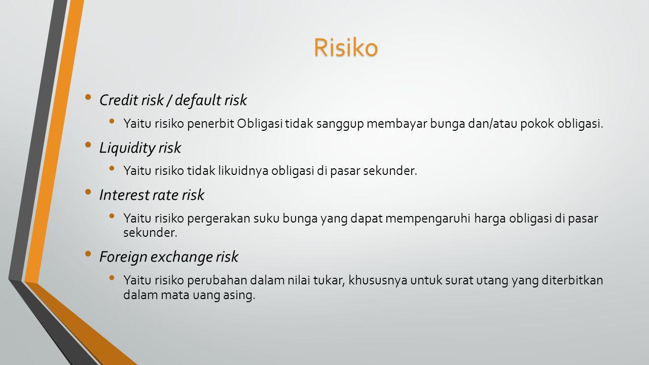 Risiko Credit risk / default risk Yaitu risiko penerbit Obligasi tidak sanggup membayar bunga dan/atau pokok obligasi. Liquidity risk Yaitu risiko tid