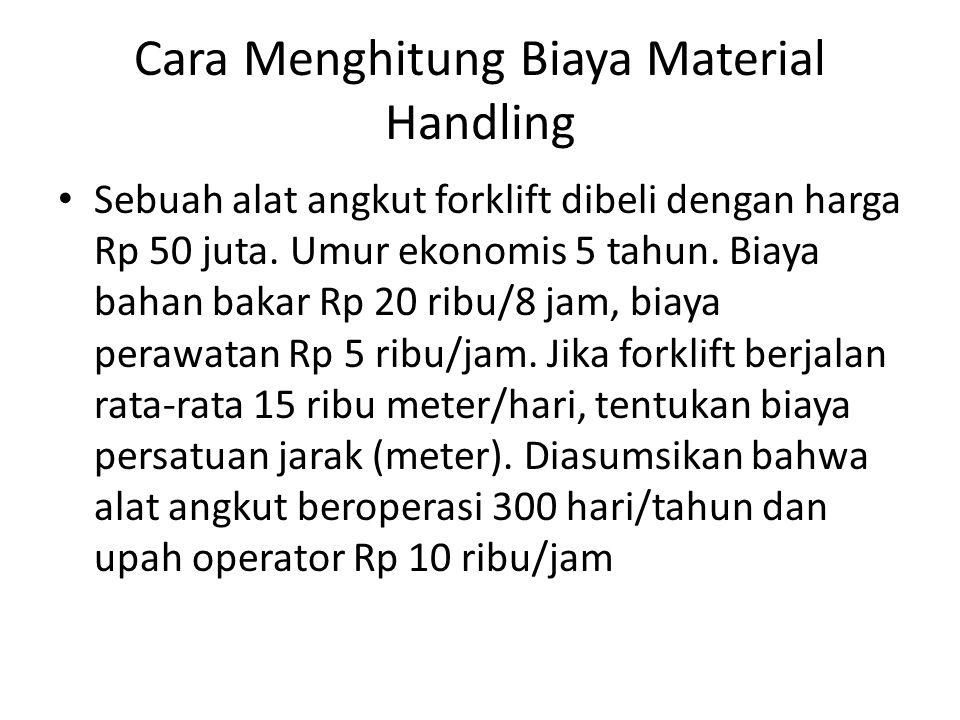 Cara Menghitung Biaya Material Handling Sebuah alat angkut forklift dibeli dengan harga Rp 50 juta. Umur ekonomis 5 tahun. Biaya bahan bakar Rp 20 rib