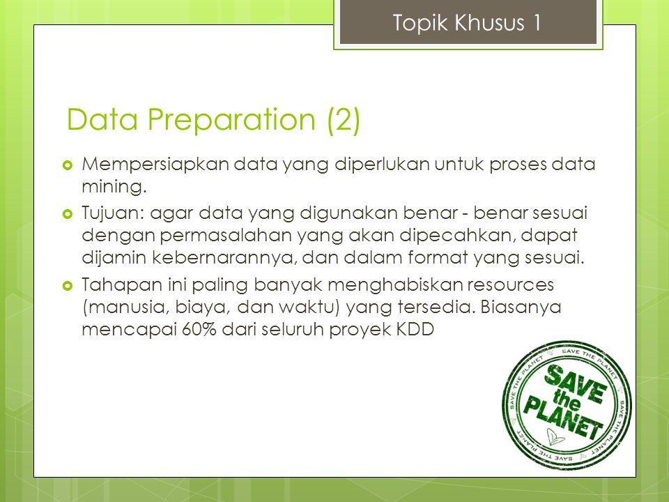 Topik Khusus 1  Mempersiapkan data yang diperlukan untuk proses data mining.