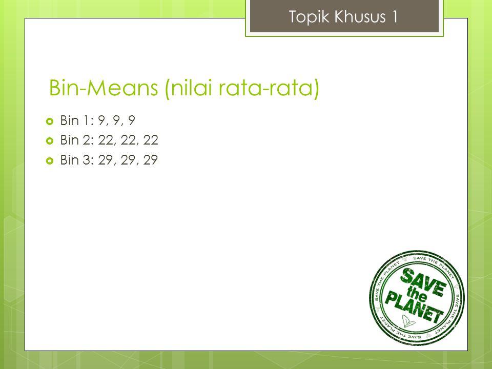 Topik Khusus 1  Bin 1: 9, 9, 9  Bin 2: 22, 22, 22  Bin 3: 29, 29, 29 Bin-Means (nilai rata-rata)