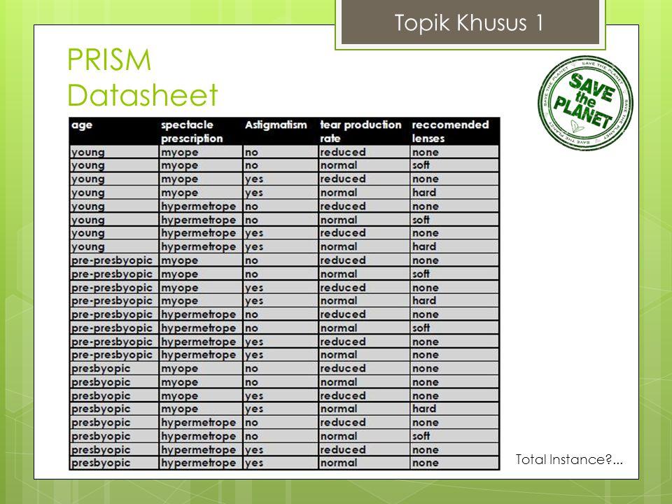 Topik Khusus 1 PRISM Datasheet Total Instance?...