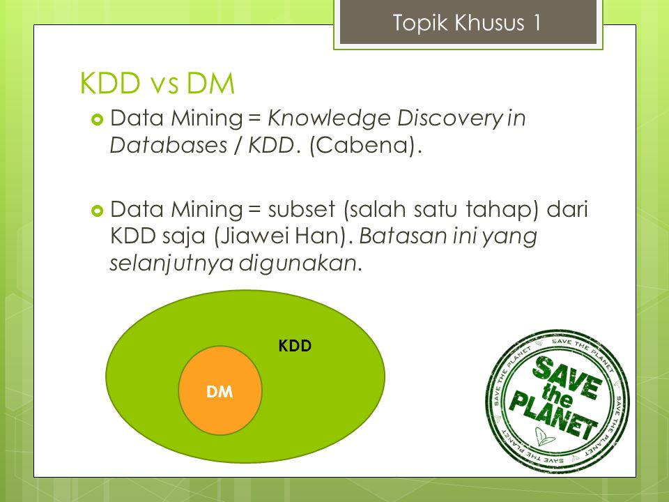 KDD vs DM Topik Khusus 1  Data Mining = Knowledge Discovery in Databases / KDD. (Cabena).  Data Mining = subset (salah satu tahap) dari KDD saja (Ji