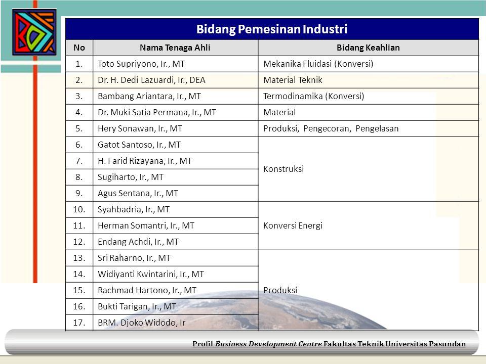 Profil Business Development Centre Fakultas Teknik Universitas Pasundan Bidang Pemesinan Industri NoNama Tenaga AhliBidang Keahlian 1.Toto Supriyono,