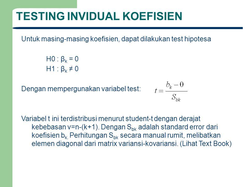 TESTING INVIDUAL KOEFISIEN Untuk masing-masing koefisien, dapat dilakukan test hipotesa H0 : β k = 0 H1 : β k ≠ 0 Dengan mempergunakan variabel test: