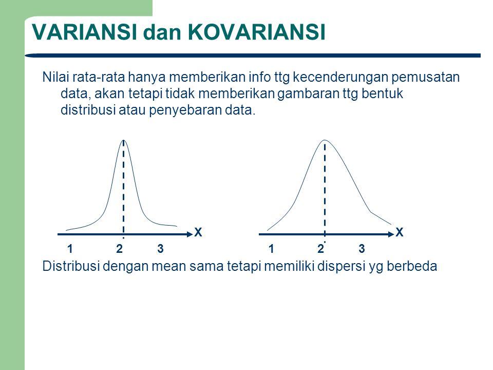 VARIANSI dan KOVARIANSI Nilai rata-rata hanya memberikan info ttg kecenderungan pemusatan data, akan tetapi tidak memberikan gambaran ttg bentuk distr