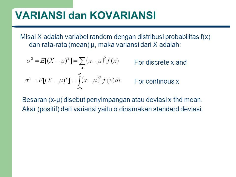 VARIANSI dan KOVARIANSI Misal X adalah variabel random dengan distribusi probabilitas f(x) dan rata-rata (mean) μ, maka variansi dari X adalah: Besara