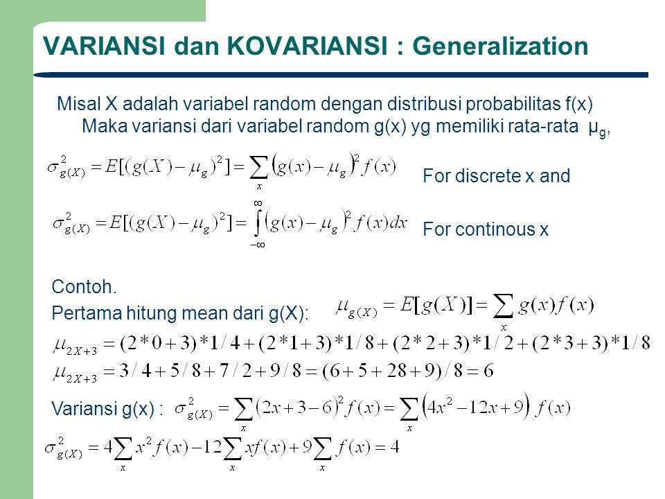 VARIANSI dan KOVARIANSI : Generalization Misal X adalah variabel random dengan distribusi probabilitas f(x) Maka variansi dari variabel random g(x) yg
