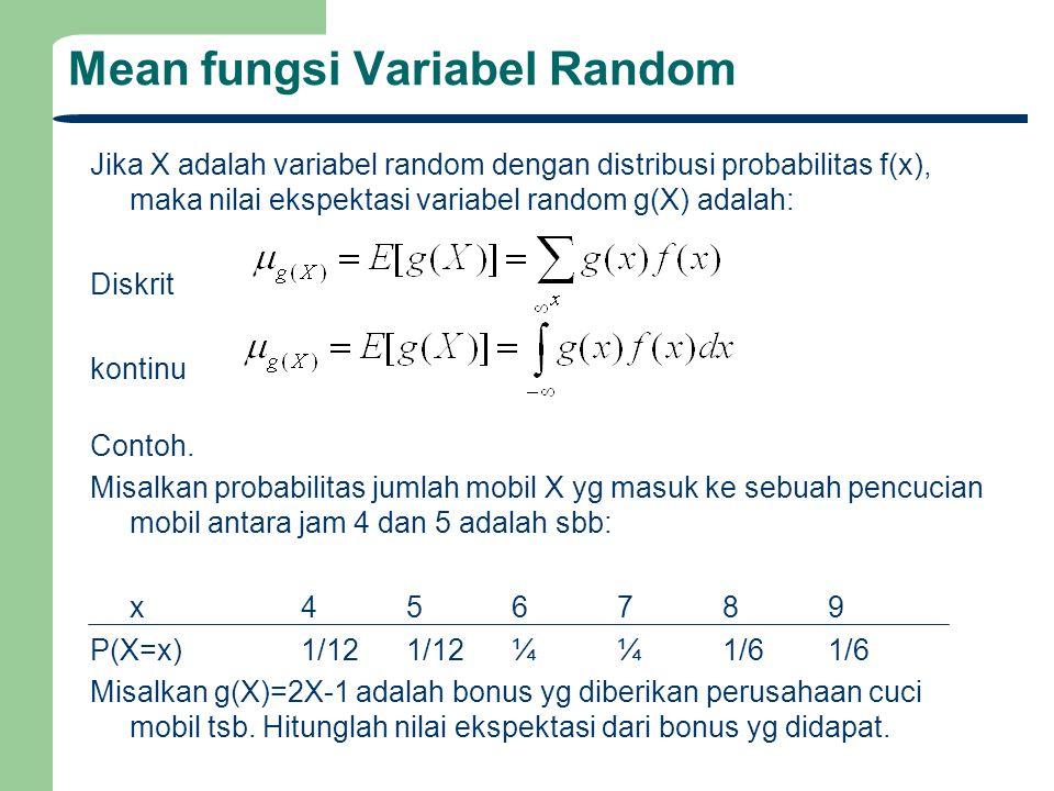 Mean fungsi Variabel Random Jika X adalah variabel random dengan distribusi probabilitas f(x), maka nilai ekspektasi variabel random g(X) adalah: Disk