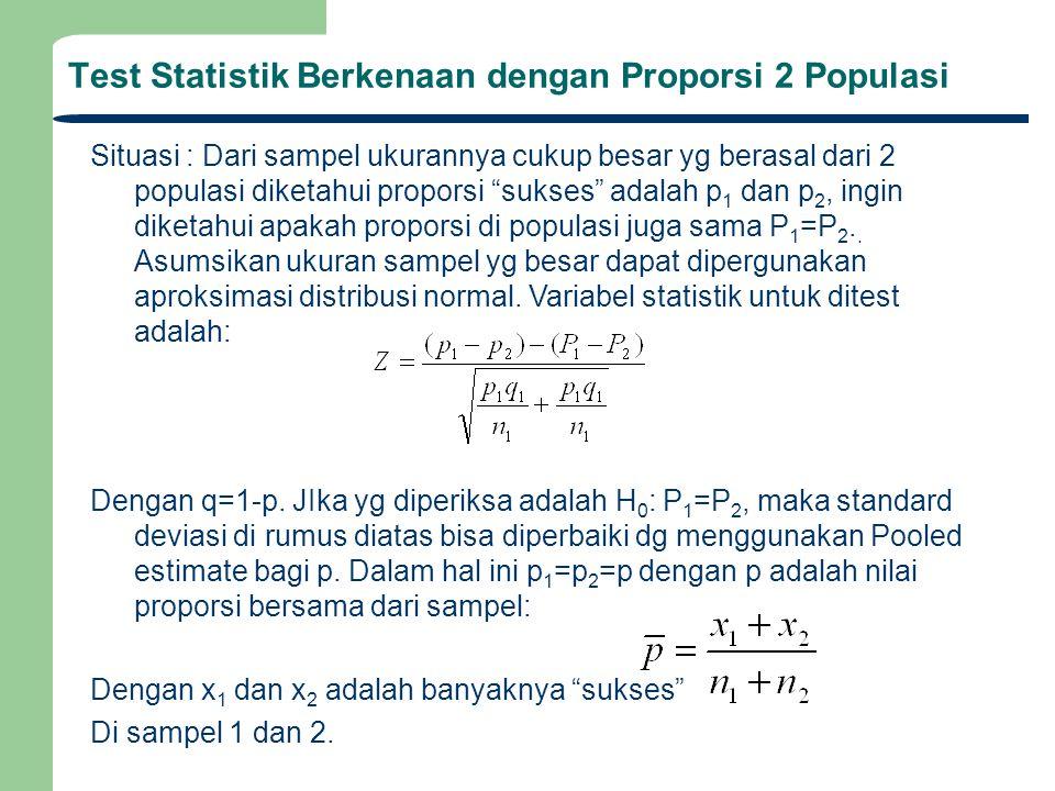 """Test Statistik Berkenaan dengan Proporsi 2 Populasi Situasi : Dari sampel ukurannya cukup besar yg berasal dari 2 populasi diketahui proporsi """"sukses"""""""