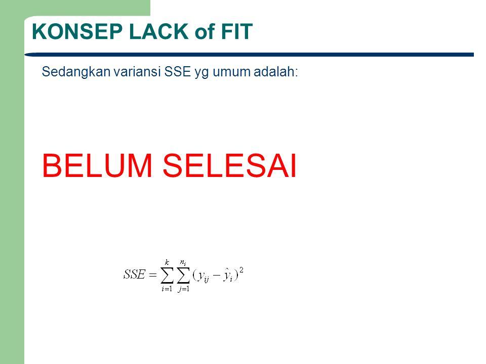 Tabel Perhitungan Lack of Fit SUmber Variasi Sum Squares Derajat Kebebasan Mean Square F Error RegresiSSR SSE 1 n-2 SSR/1SSR/S 2 Lack of FitSSE- SSE (pure) k-2 Pure ErrorSSE (pure)n-k TOTALSSTn-1