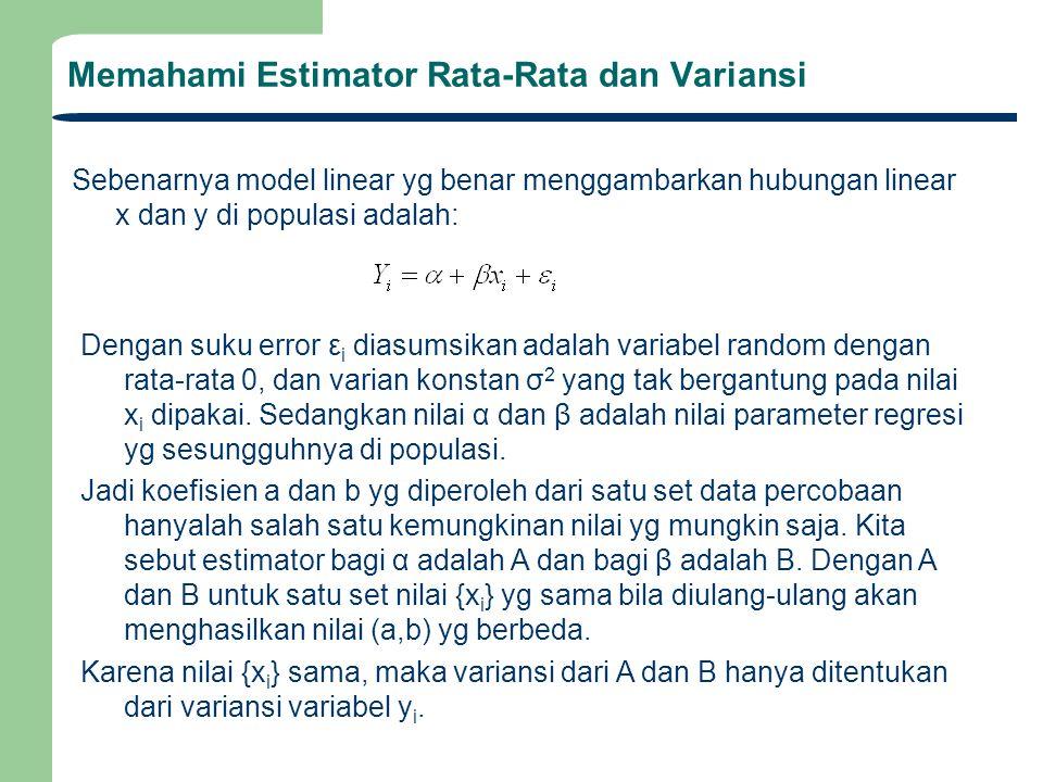 Memahami Estimator Rata-Rata dan Variansi Garis lurus terbaik diperoleh dengan meminimasi residual error e k yaitu selisih antara predicted y k dengan