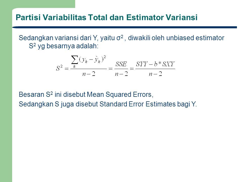 Partisi Variabilitas Total dan Estimator Variansi Garis lurus terbaik diperoleh dengan meminimasi residual error e k yaitu selisih antara predicted y