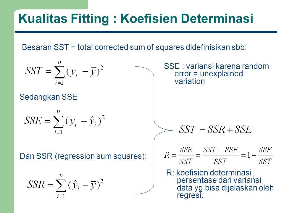 Kualitas Fitting : Koefisien Determinasi Besaran SST = total corrected sum of squares didefinisikan sbb: Sedangkan SSE Dan SSR (regression sum squares