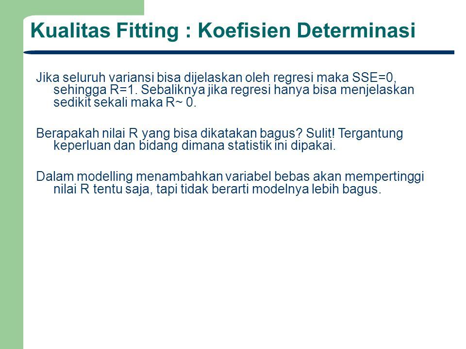 Kualitas Fitting : Koefisien Determinasi Jika seluruh variansi bisa dijelaskan oleh regresi maka SSE=0, sehingga R=1. Sebaliknya jika regresi hanya bi