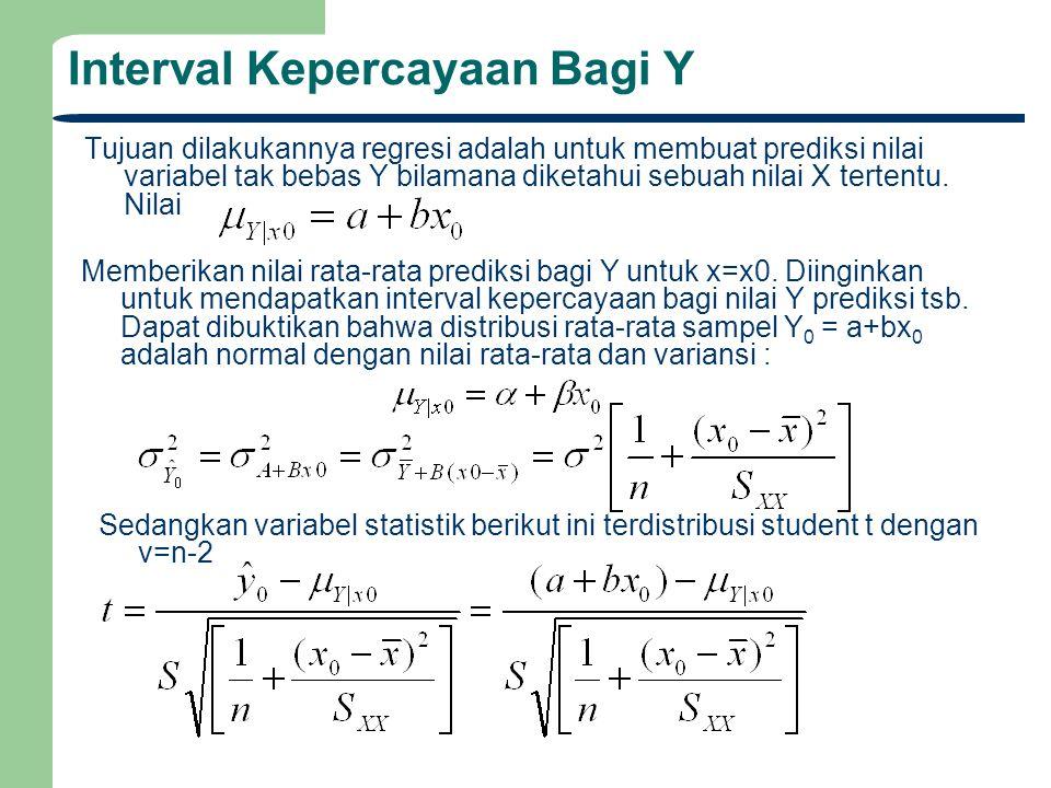 Interval Kepercayaan Bagi Y Tujuan dilakukannya regresi adalah untuk membuat prediksi nilai variabel tak bebas Y bilamana diketahui sebuah nilai X ter
