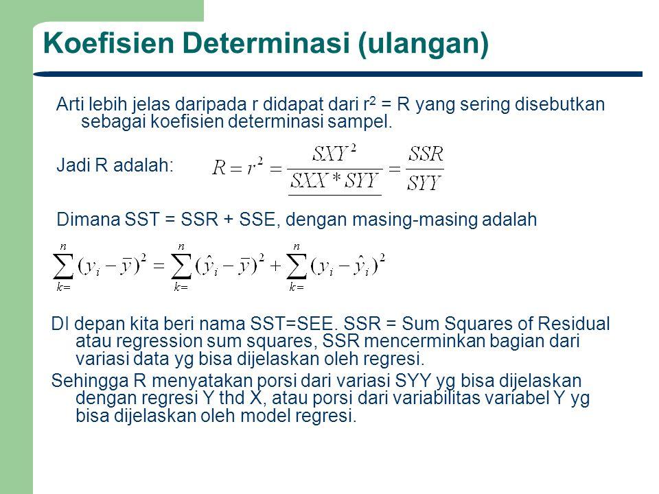 Koefisien Determinasi (ulangan) Arti lebih jelas daripada r didapat dari r 2 = R yang sering disebutkan sebagai koefisien determinasi sampel. Jadi R a