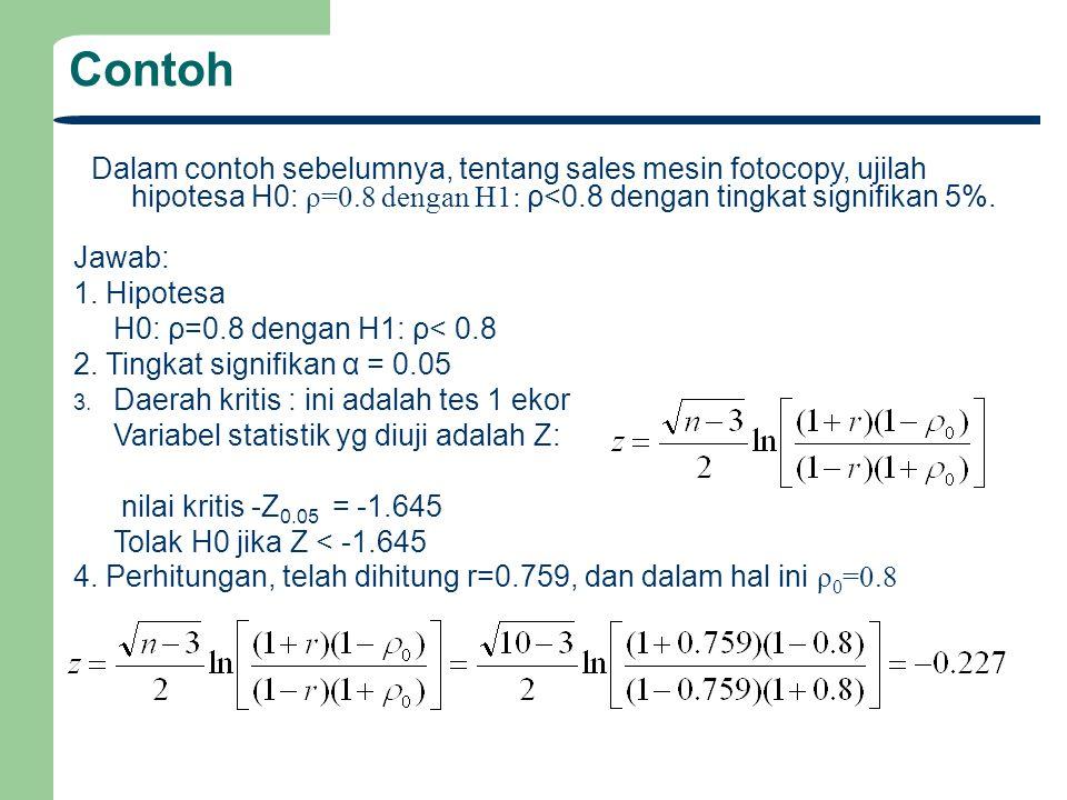 Contoh Dalam contoh sebelumnya, tentang sales mesin fotocopy, ujilah hipotesa H0: ρ=0.8 dengan H1: ρ<0.8 dengan tingkat signifikan 5%. Jawab: 1. Hipot