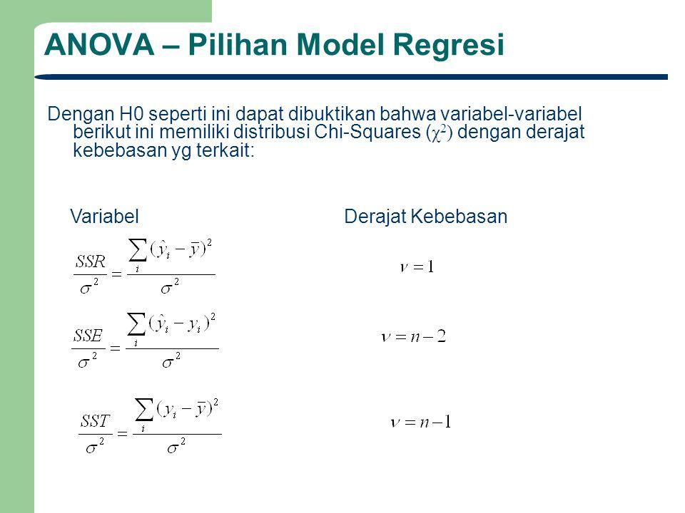 ANOVA – Pilihan Model Regresi Dengan H0 seperti ini dapat dibuktikan bahwa variabel-variabel berikut ini memiliki distribusi Chi-Squares ( χ 2 ) denga