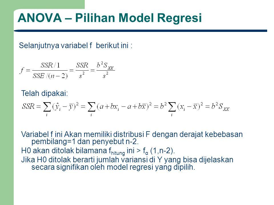 ANOVA – Pilihan Model Regresi Selanjutnya variabel f berikut ini : Variabel f ini Akan memiliki distribusi F dengan derajat kebebasan pembilang=1 dan