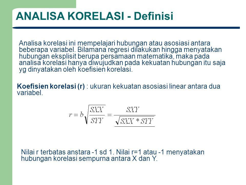 ANALISA KORELASI - Definisi Analisa korelasi ini mempelajari hubungan atau asosiasi antara beberapa variabel. Bilamana regresi dilakukan hingga menyat