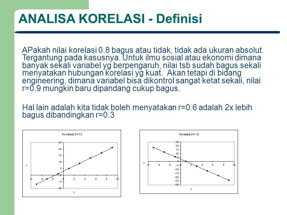 ANALISA KORELASI - Definisi APakah nilai korelasi 0.8 bagus atau tidak, tidak ada ukuran absolut. Tergantung pada kasusnya. Untuk ilmu sosial atau eko