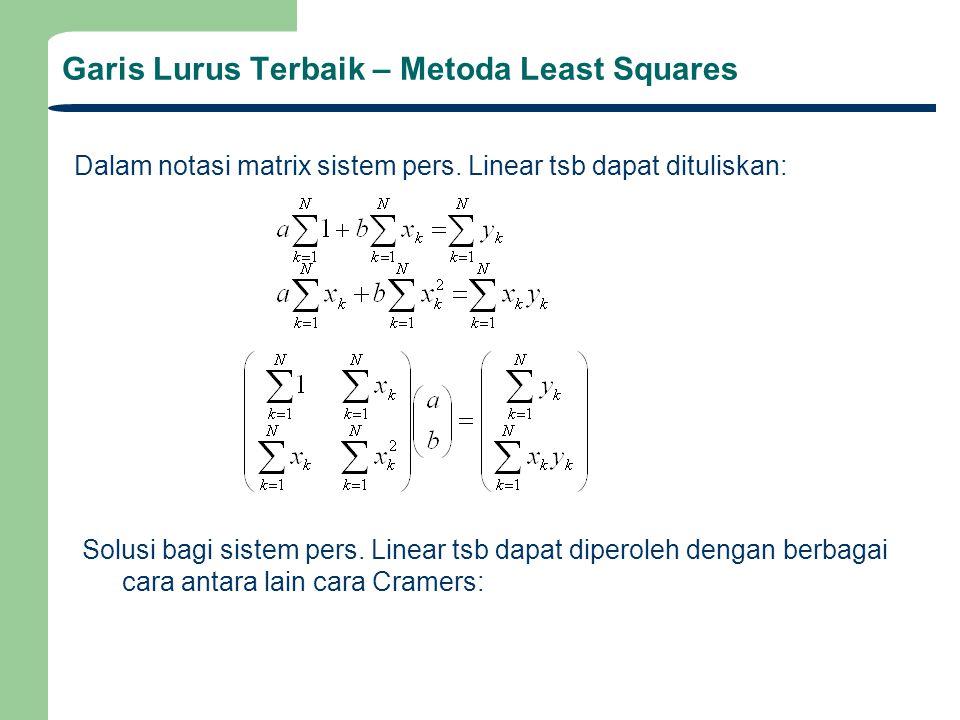 Garis Lurus Terbaik – Metoda Least Squares Solusi bagi a dan b (metoda Cramers): Garis lurus terbaik diperoleh dengan meminimasi residual error e k yaitu selisih antara predicted y k dengan data yg dipeoleh y k, yaitu jumlah total kuadrat residual error minimum (metoda Least Squares) Atau :