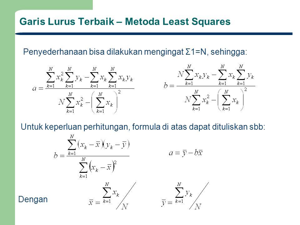 Notasi Garis lurus terbaik diperoleh dengan meminimasi residual error e k yaitu selisih antara predicted y k dengan data yg dipeoleh y k, yaitu jumlah total kuadrat residual error minimum (metoda Least Squares) Sehingga rumus regresi linear dapat dituliskan sbb: Untuk keperluan penulisan diperkenalkan notasi berikut: