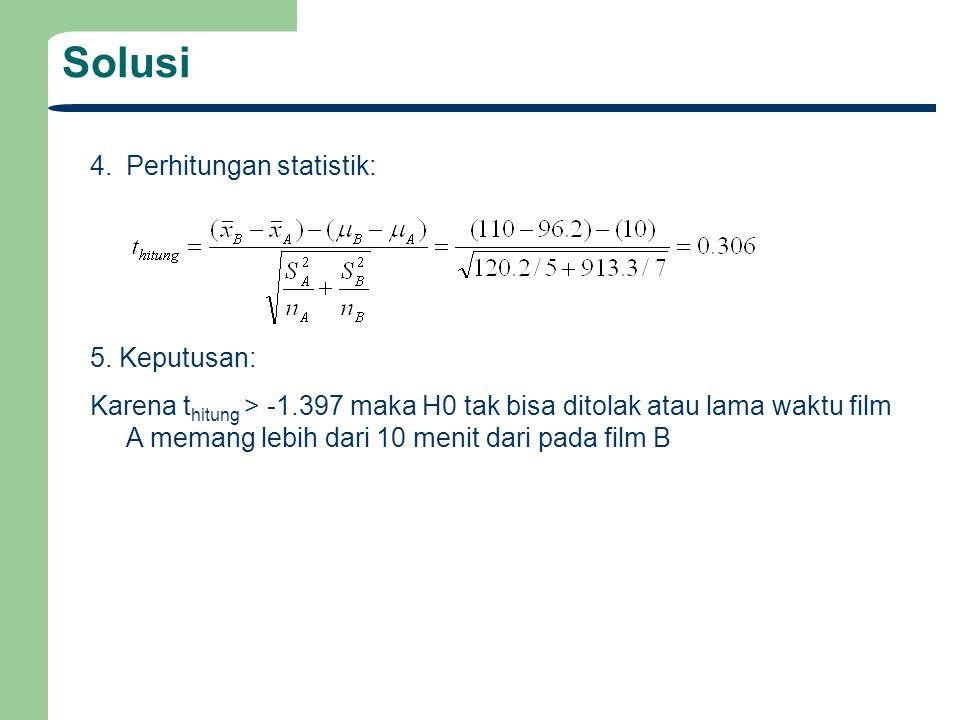 Solusi 4.Perhitungan statistik: 5.