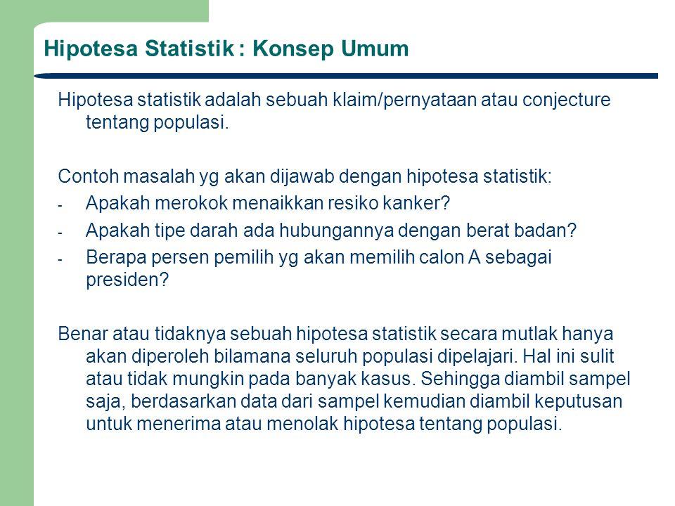 Hipotesa Statistik : Konsep Umum Hipotesa statistik adalah sebuah klaim/pernyataan atau conjecture tentang populasi. Contoh masalah yg akan dijawab de