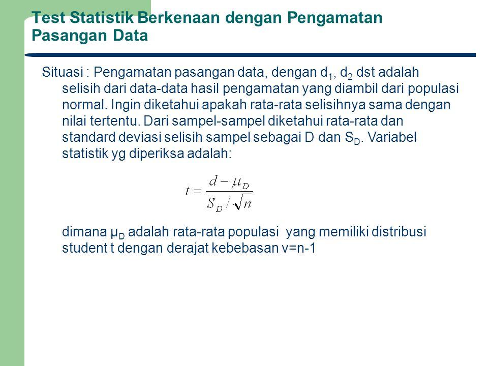 Test Statistik Berkenaan dengan Pengamatan Pasangan Data Situasi : Pengamatan pasangan data, dengan d 1, d 2 dst adalah selisih dari data-data hasil p