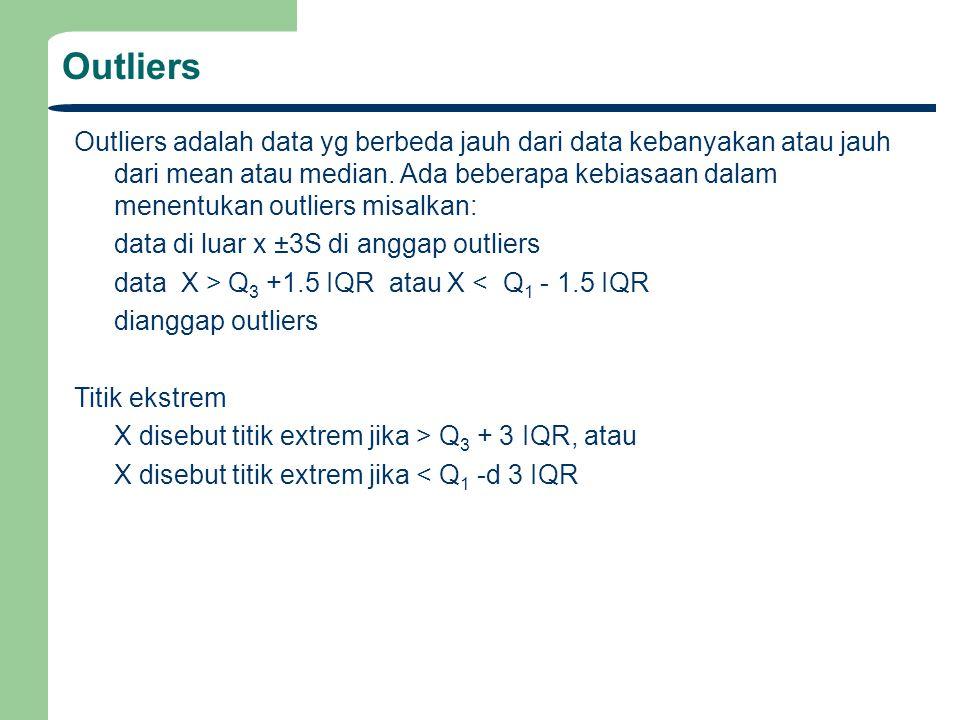 Outliers adalah data yg berbeda jauh dari data kebanyakan atau jauh dari mean atau median. Ada beberapa kebiasaan dalam menentukan outliers misalkan: