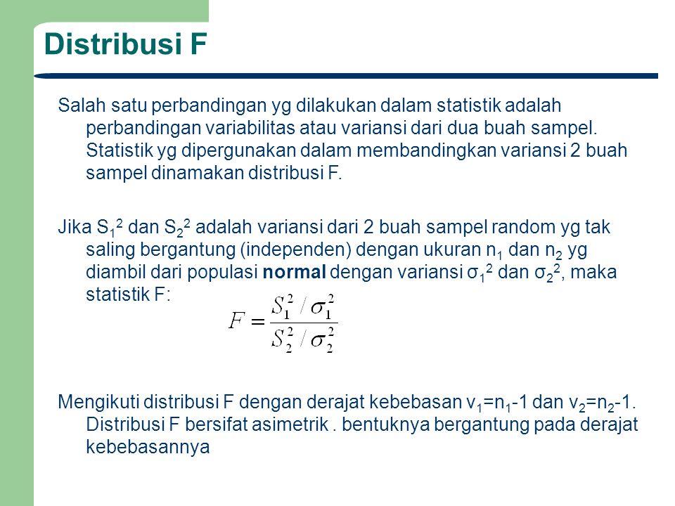 Distribusi F Salah satu perbandingan yg dilakukan dalam statistik adalah perbandingan variabilitas atau variansi dari dua buah sampel. Statistik yg di