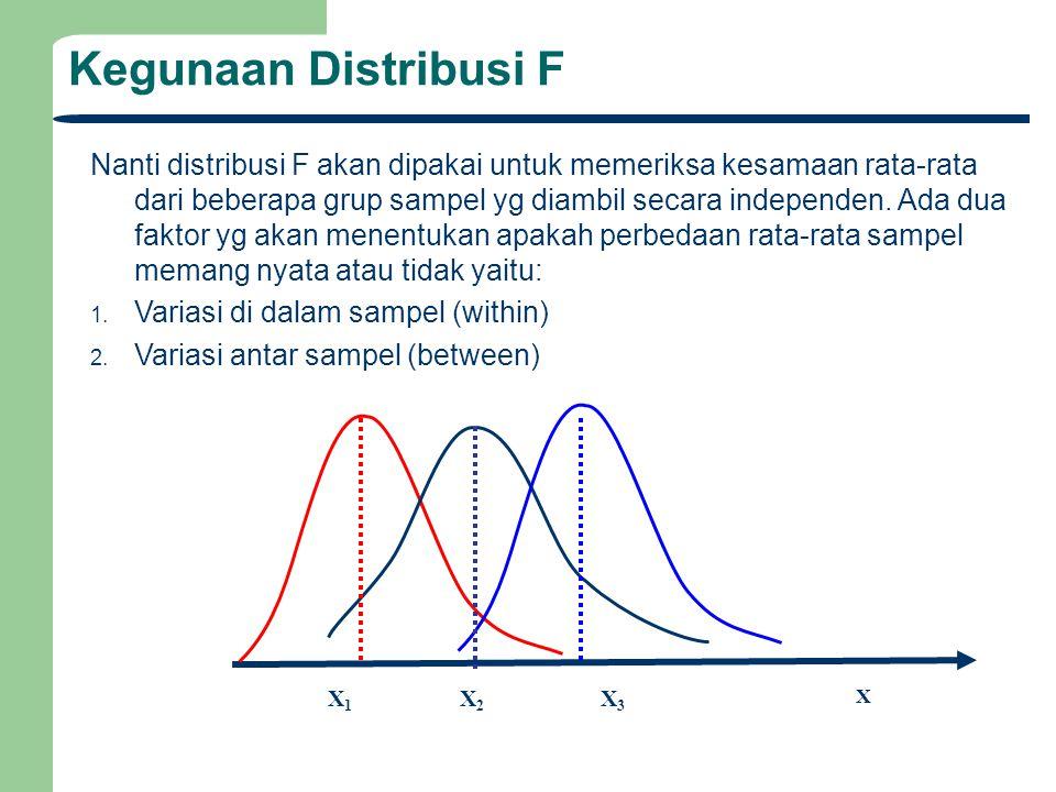 Kegunaan Distribusi F Nanti distribusi F akan dipakai untuk memeriksa kesamaan rata-rata dari beberapa grup sampel yg diambil secara independen. Ada d