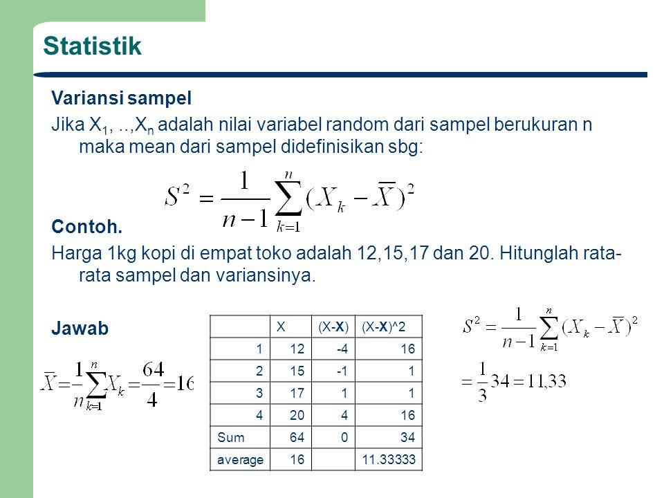 Variansi sampel Jika X 1,..,X n adalah nilai variabel random dari sampel berukuran n maka mean dari sampel didefinisikan sbg: Contoh. Harga 1kg kopi d