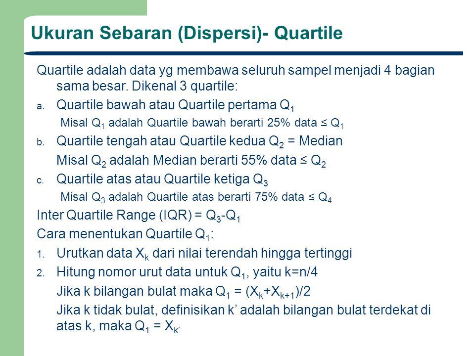 Quartile adalah data yg membawa seluruh sampel menjadi 4 bagian sama besar. Dikenal 3 quartile: a. Quartile bawah atau Quartile pertama Q 1 Misal Q 1