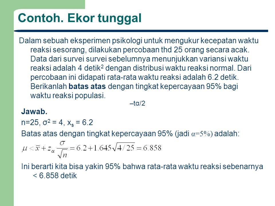 Sampel Tunggal : Interval Kepercayaan Rata-Rata Populasi (σ TAK diketahui tapi ukuran sampel n>30) Jika standard deviasi populasi (σ).