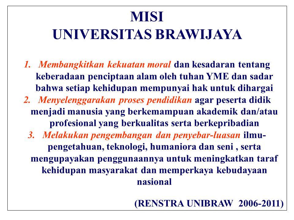MISI UNIVERSITAS BRAWIJAYA 1.Membangkitkan kekuatan moral dan kesadaran tentang keberadaan penciptaan alam oleh tuhan YME dan sadar bahwa setiap kehid