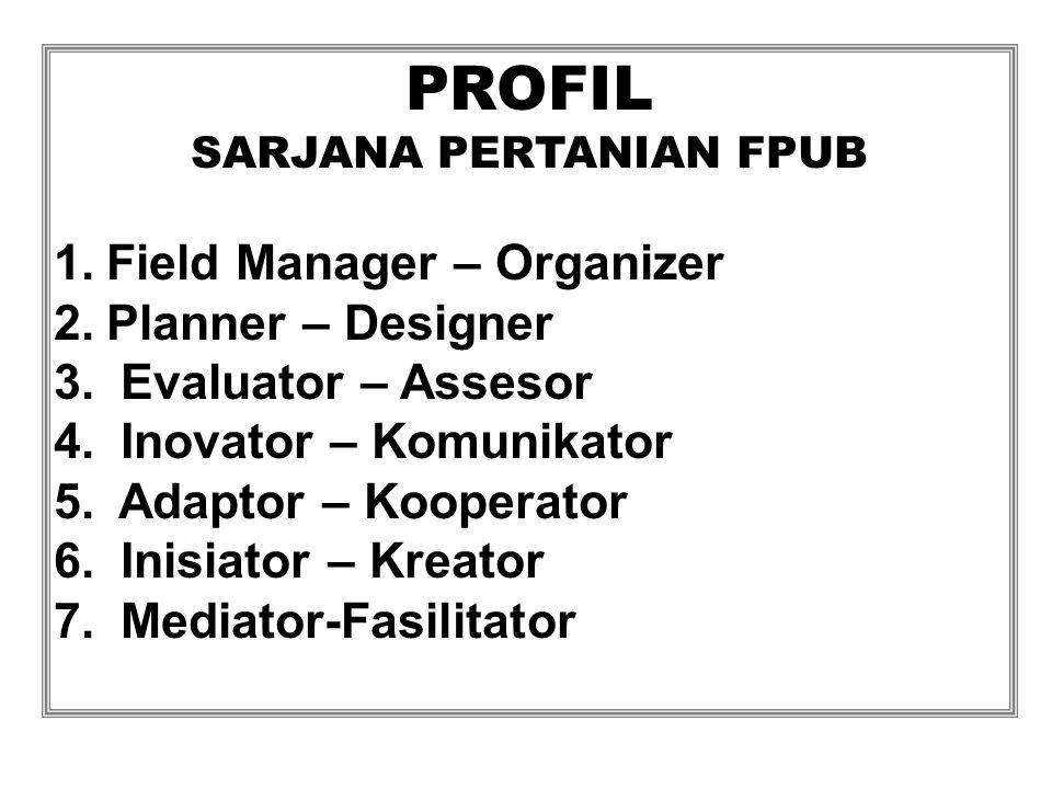 PROFIL SARJANA PERTANIAN FPUB 1.Field Manager – Organizer 2.Planner – Designer 3.