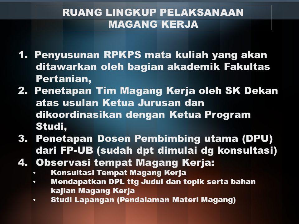 1. Penyusunan RPKPS mata kuliah yang akan ditawarkan oleh bagian akademik Fakultas Pertanian, 2. Penetapan Tim Magang Kerja oleh SK Dekan atas usulan