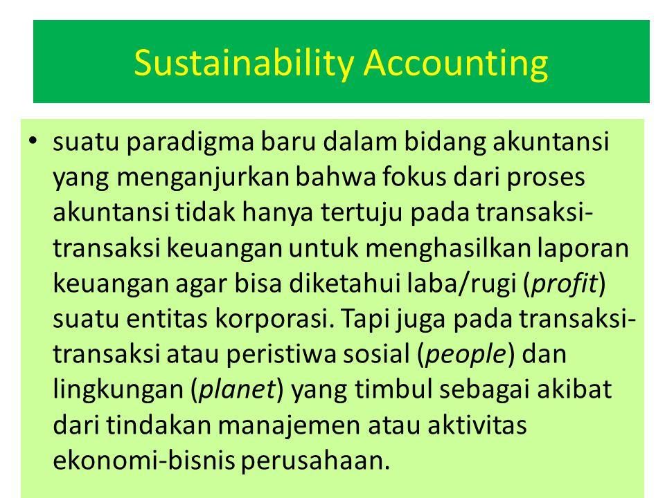 suatu paradigma baru dalam bidang akuntansi yang menganjurkan bahwa fokus dari proses akuntansi tidak hanya tertuju pada transaksi- transaksi keuangan