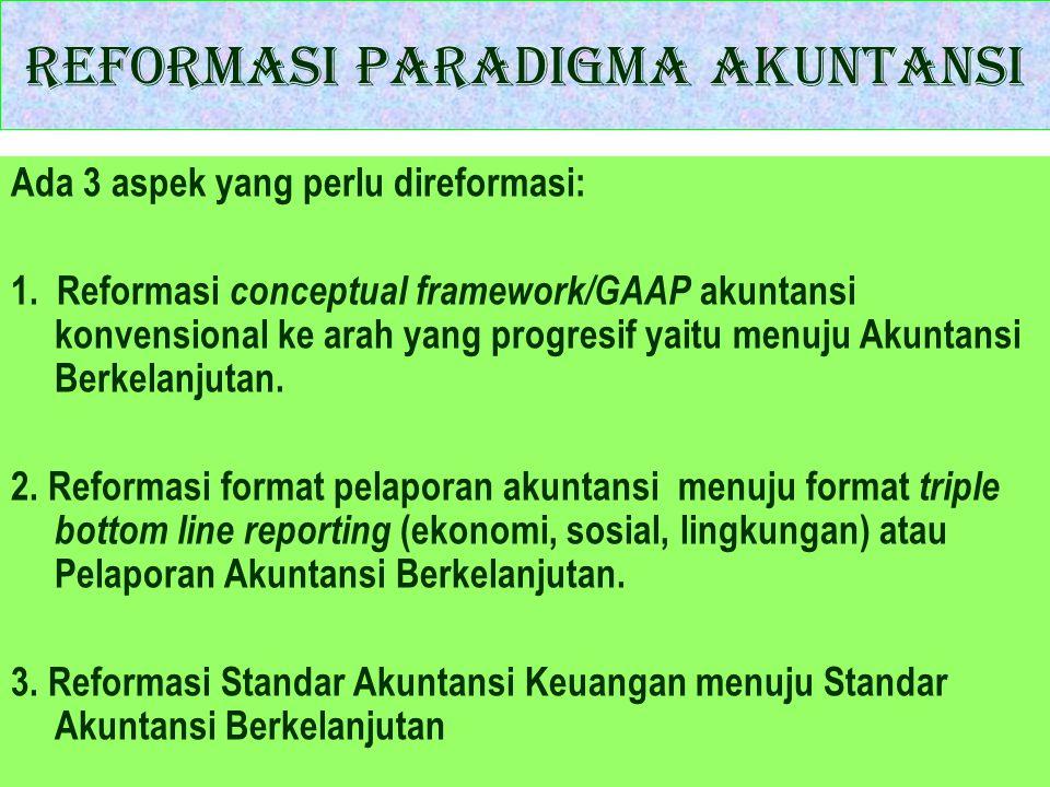 Reformasi Paradigma Akuntansi Ada 3 aspek yang perlu direformasi: 1. Reformasi conceptual framework/GAAP akuntansi konvensional ke arah yang progresif