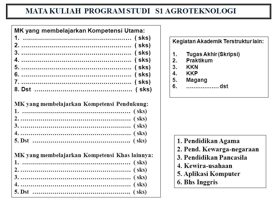 MATA KULIAH PROGRAM STUDI S1 AGROTEKNOLOGI MK yang membelajarkan Kompetensi Utama: 1.