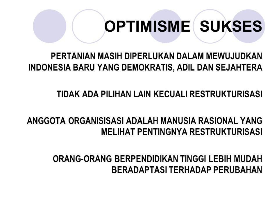 OPTIMISME SUKSES PERTANIAN MASIH DIPERLUKAN DALAM MEWUJUDKAN INDONESIA BARU YANG DEMOKRATIS, ADIL DAN SEJAHTERA TIDAK ADA PILIHAN LAIN KECUALI RESTRUK