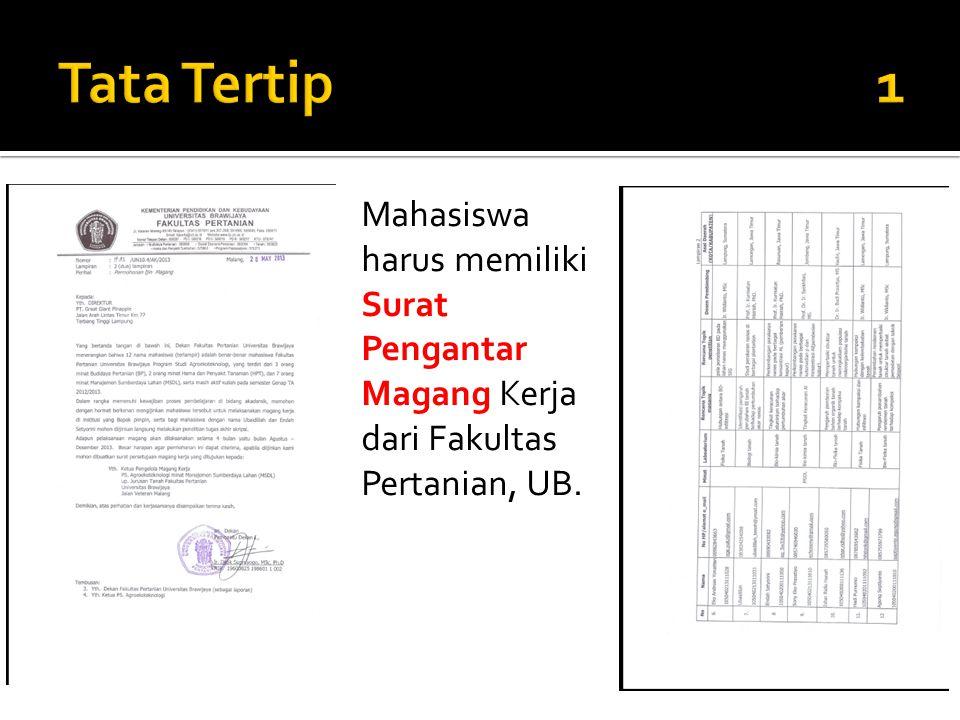 Mahasiswa harus memiliki Surat Pengantar Magang Kerja dari Fakultas Pertanian, UB.