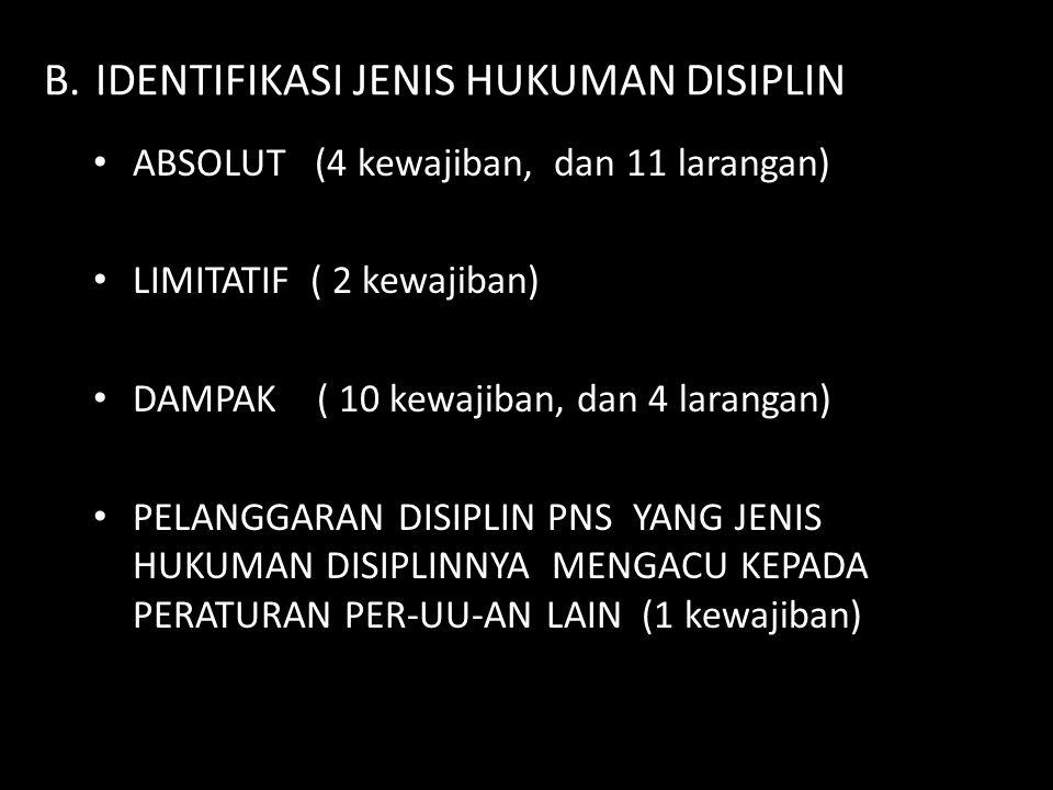 B.IDENTIFIKASI JENIS HUKUMAN DISIPLIN ABSOLUT (4 kewajiban, dan 11 larangan) LIMITATIF ( 2 kewajiban) DAMPAK ( 10 kewajiban, dan 4 larangan) PELANGGAR