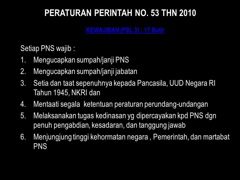 KEWAJIBAN (PSL 3) : 17 Butir KEWAJIBAN (PSL 3) : 17 Butir Setiap PNS wajib : 1.Mengucapkan sumpah/janji PNS 2.Mengucapkan sumpah/janji jabatan 3.Setia