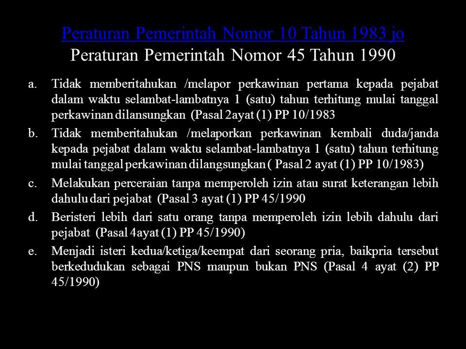 Peraturan Pemerintah Nomor 10 Tahun 1983 jo Peraturan Pemerintah Nomor 10 Tahun 1983 jo Peraturan Pemerintah Nomor 45 Tahun 1990 a.Tidak memberitahuka