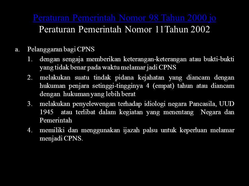 Peraturan Pemerintah Nomor 98 Tahun 2000 jo Peraturan Pemerintah Nomor 98 Tahun 2000 jo Peraturan Pemerintah Nomor 11Tahun 2002 a.Pelanggaran bagi CPN